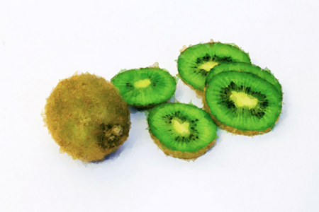 Whole Kiwi Fruit and his Sliced Segments Isolated on White Background. Watercolor Illustration