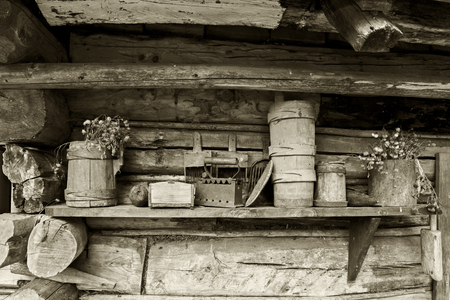 old time: Genesis old time vintage iron on the charcoal, wooden buckets.