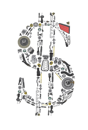 Dollar money with auto parts for car. Spare parts for car. Aftermarket OEM. Many auto spare parts isolated in money dollar