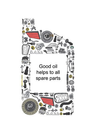 spare: One liter canister of engine oil. Canister oils collected from auto parts. Spare parts for original and aftermarket passenger cars.