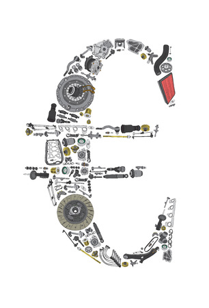 aftermarket: Euro money with auto parts for car. Spare parts for car for shop, aftermarket OEM. Euro icon. Many auto parts isolated in money euro Illustration