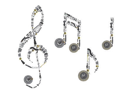 spare: Treble clef assembled from auto spare parts Illustration