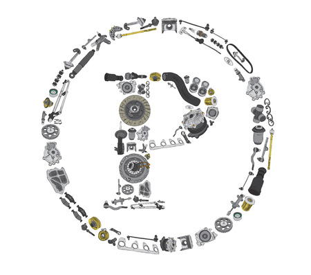 icone: Copyright icone with auto spare parts for car