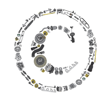 spare: Many auto spare parts in copyright icone Illustration