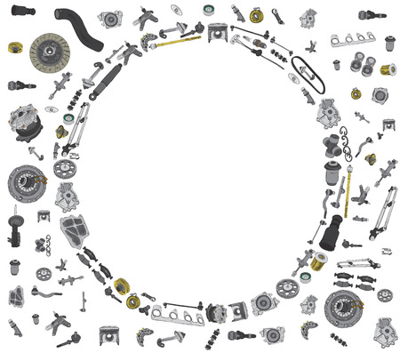 spare: Many auto spare parts for car OEM on the white background