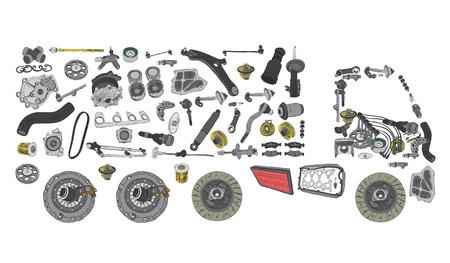 Fotos vrachtwagen samengesteld uit auto-onderdelen