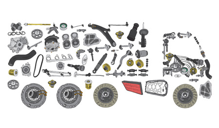 Images truck assembled from auto spare parts Illustration