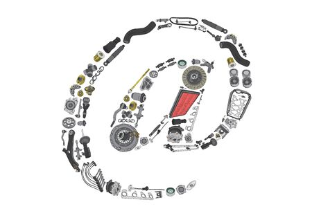 gasket: Dogbody or email icone with auto spare parts for car