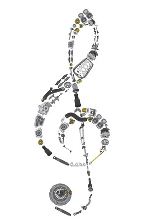 aftermarket: Treble clef assembled from painted auto spare parts Stock Photo