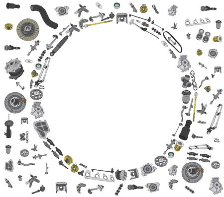 aftermarket: Many auto spare parts for car OEM on the white background