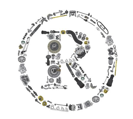 gasket: Trade Mark icone with auto spare parts for car