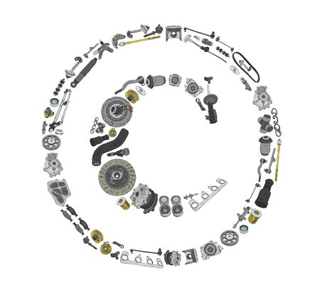 gasket: Many auto spare parts in copyright icone Stock Photo