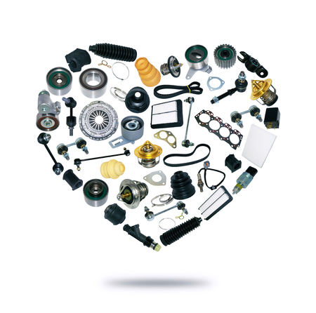 Heart spare auto parts for car on white background. Set with many isolated items for shop or aftermarket, OEM Stock Photo