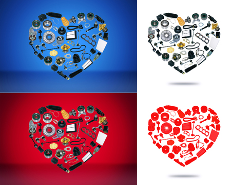 Heart spare auto parts for car on white red blue background. Set with many isolated items for shop or aftermarket, OEM. Valentines Day