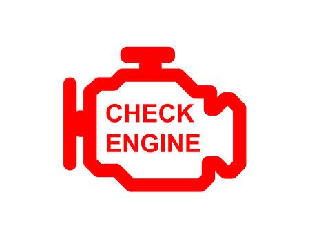 Mal funcionamiento o símbolo del coche, tablero de instrumentos del motor del cheque se cierran para arriba Ilustración de vector
