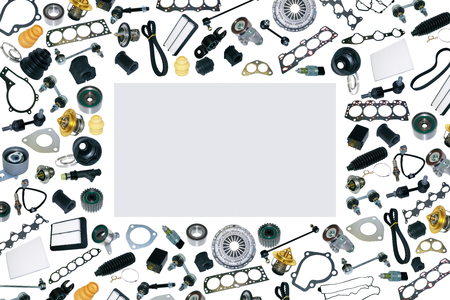 Spare auto parts car on the white background set. Frame for advertising and assembled from auto parts, spare parts. Many repair part are located on the edge of the image. OEM.