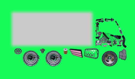 aftermarket: Images truck assembled from new spare parts. Cargo shop Stock Photo