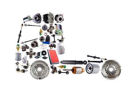 Images truck assembled from new spare parts. Cargo shop Banco de Imagens