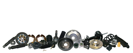 Spare parts car on the white background set. Many auto parts are located on the edge of the image. OEM parts, auto parts for customer. Archivio Fotografico