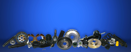 Spare parts car on the blue background set. Many auto parts are located on the edge of the image. OEM parts, auto parts for customer.