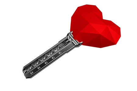 3D rendering. Red polygonal heart on white background with key, valentines day