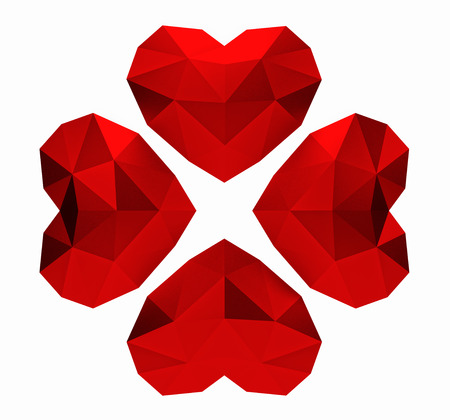3D rendering. Red polygonal hearts clover on white background, valentines day