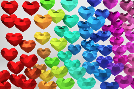 3D rendering. Many multicolored polygonal hearts on white background, valentines day