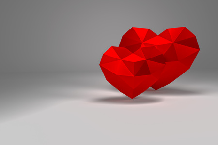 3D rendering. Red polygonal hearts on background, valentines day Banque d'images