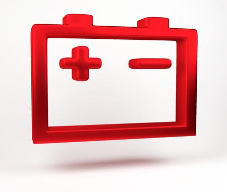 Rappresentazione 3D. Icona di avviso batteria auto isolato su priorità bassa bianca. Icona della lampada dei pezzi di ricambio per auto su sfondo bianco