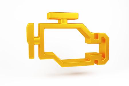 3D-Rendering. Orangefarbene Fehlfunktion oder Motorlichtsymbol überprüfen, Armaturenbrett. Symbol der Autoersatzteillampe auf weißem Hintergrund Standard-Bild