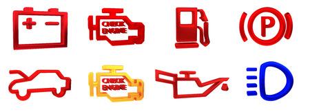 Rappresentazione 3D. Collezione di indicatori del pannello del cruscotto dell'auto, indicatori gialli rossi verdi blu. Icona della lampada dei pezzi di ricambio per auto su sfondo bianco