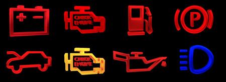 Rappresentazione 3D. Collezione di indicatori del pannello del cruscotto dell'auto, indicatori gialli rossi verdi blu. Icona della lampada dei pezzi di ricambio per auto su sfondo nero Archivio Fotografico