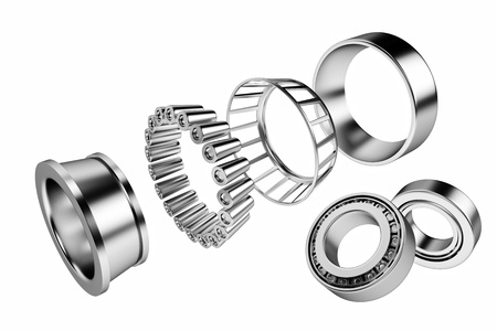 3D rendering. Automotive bearings auto spare parts. Tapered roller bearing isolated on a white background. Wheel bearing for truck, heavy duty and car.