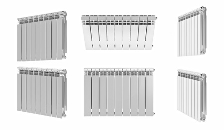 3D rendering. Central heating radiators with many sections. Many white heating radiators on white background. Archivio Fotografico - 119190521