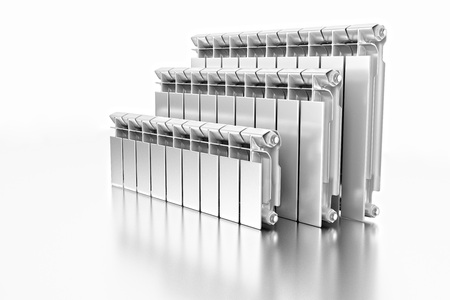3D rendering. Central heating radiators with many sections. Many white heating radiators on white background.