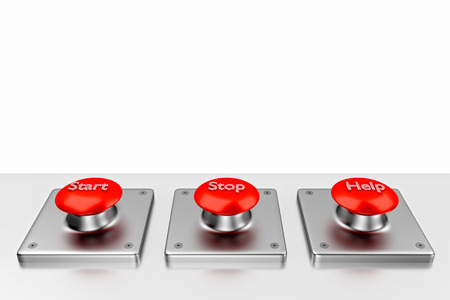 3D rendering. Red web buttons with start, stop, help. Buttons on white background. Red buttons with words.