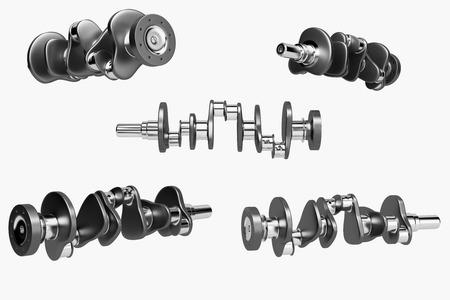 3D rendering. Crankshaft for 6v cylinders engine. Truck crankshaft on white background. Engine bearing crankshaft. Stock Photo