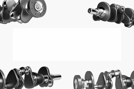3D rendering. Crankshaft for 6v cylinders engine. Truck crankshaft on white background. Engine bearing crankshaft.