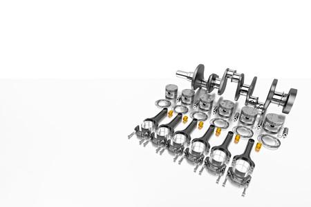 3D rendering. Crankshaft for 6v cylinders engine. Truck crankshaft on grey background. Engine bearing crankshaft with pistons and piston rings. Stock Photo