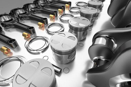 3D rendering. Crankshaft for 6v cylinders engine. Truck crankshaft on grey background. Engine bearing crankshaft with pistons and piston rings.