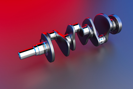 3D rendering. Crankshaft for 6v cylinders engine. Truck crankshaft on multicolored background. Engine bearing crankshaft.