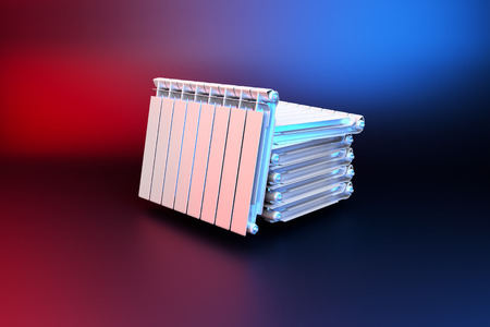 3D rendering. Central heating radiators with many sections. Many white heating radiators on background. Archivio Fotografico - 119190672