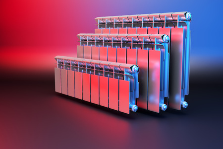 3D rendering. Central heating radiators with many sections. Many white heating radiators on background. Archivio Fotografico - 119190673