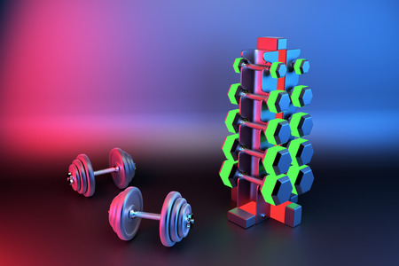 3D rendering. Set of isolated dumbbells for sport on a background folded on a special black metal stand. Dumbbells of different weight category. Dumbbell with different weights