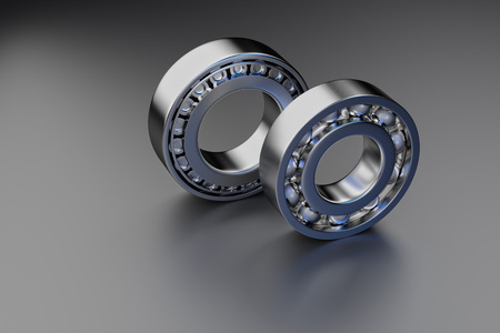 3D rendering. Automotive bearings auto spare parts. Ball bearing on a dark background. Wheel bearing for truck, heavy duty and car. Banque d'images