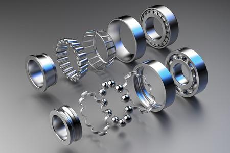 Rappresentazione 3D. Cuscinetti automobilistici ricambi auto. Cuscinetto a sfere su uno sfondo scuro. Cuscinetto ruota per camion, veicoli pesanti e auto.