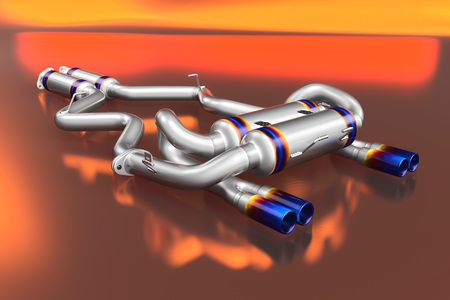 Tuning exhaust system for a sports car. Car muffler, exhaust silencer on a multicolor background