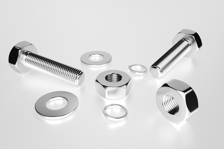 Bolts, nuts, washers, growers on a white background 3D rendering Фото со стока