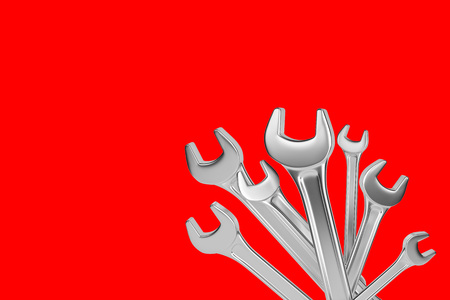 Many isolated wrenchs on red background. 3d rendering 版權商用圖片