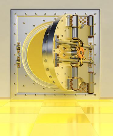 Front view of light gold bank vault door, closed. The door to the bank vault with a lot of secret mechanisms and passwords. 3D Render